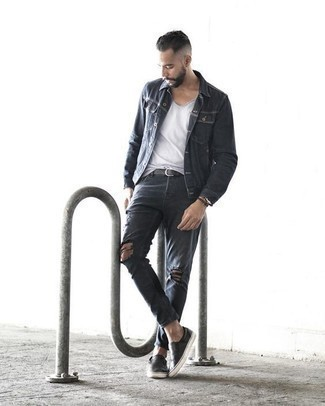 Men's Looks & Outfits: What To Wear In 2020: If you feel more confident wearing something functional, you'll appreciate this bold casual combination of a charcoal denim jacket and charcoal ripped jeans. Feeling experimental today? Elevate this getup by sporting black leather slip-on sneakers.