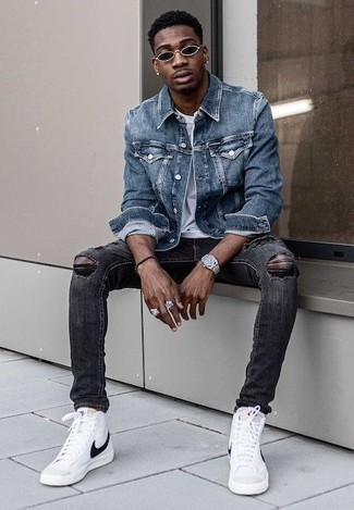 How to Wear a Jacket For Men: Infuse some fun into your current styling collection with a jacket and charcoal ripped jeans. We adore how a pair of white and black canvas high top sneakers makes this outfit complete.