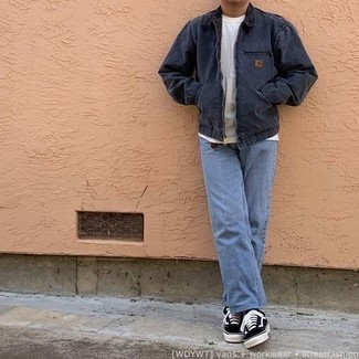 Navy Denim Jacket Outfits For Men: Dress in a navy denim jacket and light blue jeans for a straightforward ensemble that's also put together. This getup is rounded off wonderfully with black and white canvas low top sneakers.