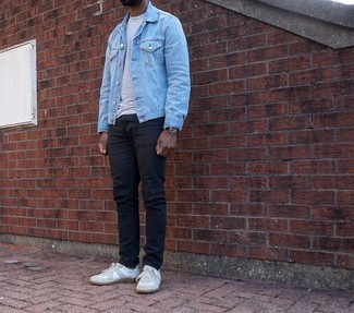 Men's Outfits 2020: If the situation permits a casual getup, try pairing a light blue denim jacket with navy jeans. White canvas low top sneakers integrate seamlessly within a ton of outfits.