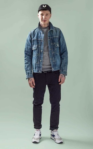 Blue Denim Jacket Outfits For Men In Their Teens: This casual pairing of a blue denim jacket and black jeans is a surefire option when you need to look sharp in a flash. Kick up the wow factor of your ensemble by finishing with a pair of grey athletic shoes. This ensemble demonstrates how teen guys can score in the fashion department.