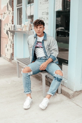 Bandana Outfits For Men: Exhibit your credentials in men's fashion by pairing a light blue denim jacket and a bandana for a city casual outfit. You could take a more elegant route with shoes by finishing off with a pair of white canvas low top sneakers.