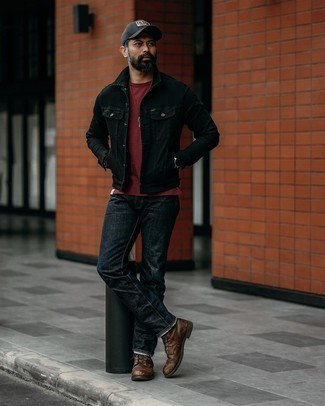 Burgundy Crew-neck T-shirt Outfits For Men: Combining a burgundy crew-neck t-shirt and navy jeans will hallmark your prowess in men's fashion even on dress-down days. If you wish to instantly kick up this outfit with a pair of shoes, why not add a pair of dark brown leather casual boots to the equation?