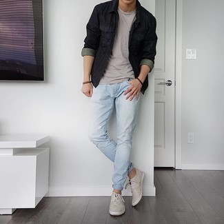 Dark Brown Bracelet Outfits For Men: For a casual look, rock a black denim jacket with a dark brown bracelet — these pieces work nicely together. Dial up this getup by sporting a pair of grey canvas low top sneakers.