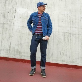 Navy and White Print Baseball Cap Outfits For Men: A navy denim jacket and a navy and white print baseball cap are veritable staples if you're planning a casual closet that holds to the highest fashion standards. To introduce some extra depth to this ensemble, complete this look with black leather casual boots.