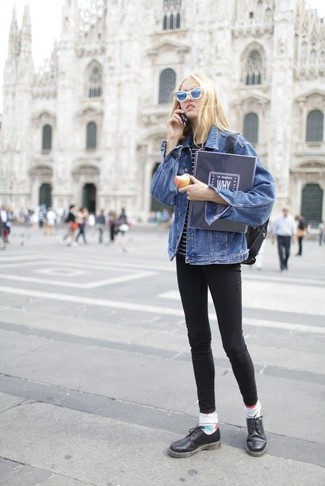Rock a blue denim jacket with Gucci women's Gg Print Socks if you're scouting for an outfit idea for when you want to look casually cool. Spruce up your ensemble with black leather oxford shoes. Loving this one, especially for the spring season.