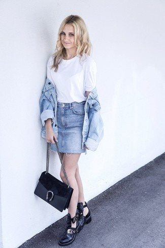 How to wear: light blue denim jacket, white crew-neck t-shirt, light blue denim mini skirt, black cutout leather ankle boots