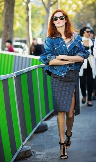 How to wear: blue denim jacket, grey crew-neck t-shirt, navy plaid pencil skirt, black leather heeled sandals