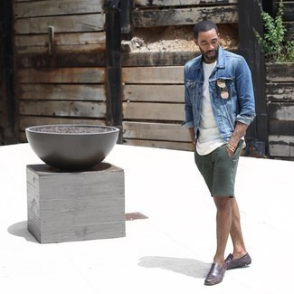 Driving Shoes Outfits For Men: For a casual getup, consider pairing a blue denim jacket with dark green shorts — these items fit really nice together. Driving shoes integrate effortlessly within a ton of combinations.