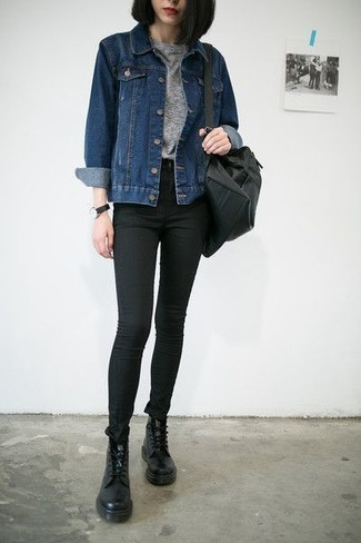 How to wear: navy denim jacket, grey crew-neck t-shirt, black skinny jeans, black leather lace-up flat boots