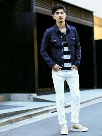 How to wear: navy denim jacket, white and black horizontal striped crew-neck t-shirt, white skinny jeans, beige canvas low top sneakers