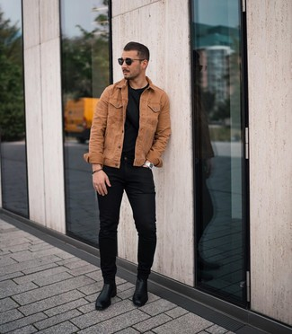 How to wear: tobacco denim jacket, black crew-neck t-shirt, black skinny jeans, black leather chelsea boots