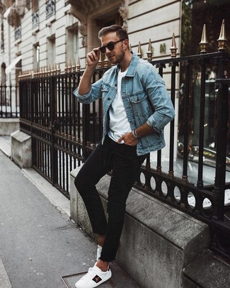 How to Wear a Light Blue Denim Jacket For Men: A light blue denim jacket and black skinny jeans are great menswear essentials to have in your casual box. Complete your ensemble with white print leather low top sneakers and the whole ensemble will come together wonderfully.