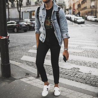 How to Wear a Light Blue Denim Jacket For Men: If you wish take your casual fashion game to a new height, opt for a light blue denim jacket and black skinny jeans. For extra fashion points, rock a pair of white print leather low top sneakers.