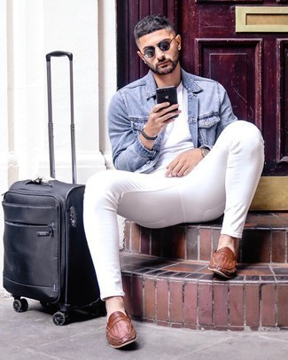 Light Blue Denim Jacket Outfits For Men: Master the laid-back and cool look in a light blue denim jacket and white skinny jeans. Finish off your outfit with brown woven leather loafers to switch things up.