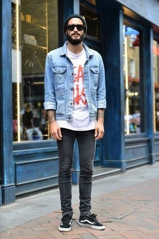How to wear: light blue denim jacket, white and red print crew-neck t-shirt, charcoal skinny jeans, black low top sneakers