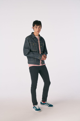 Black Skinny Jeans Outfits For Men: When the situation permits an off-duty outfit, consider pairing a charcoal denim jacket with black skinny jeans. If in doubt about the footwear, slip into navy and white canvas low top sneakers.