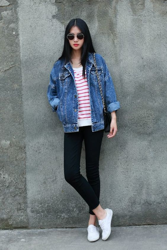 Women's Blue Denim Jacket, White and Red Horizontal Striped Crew ...
