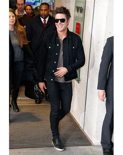 Zac Efron Wearing Black Denim Jacket Grey Print Crew Neck T Shirt