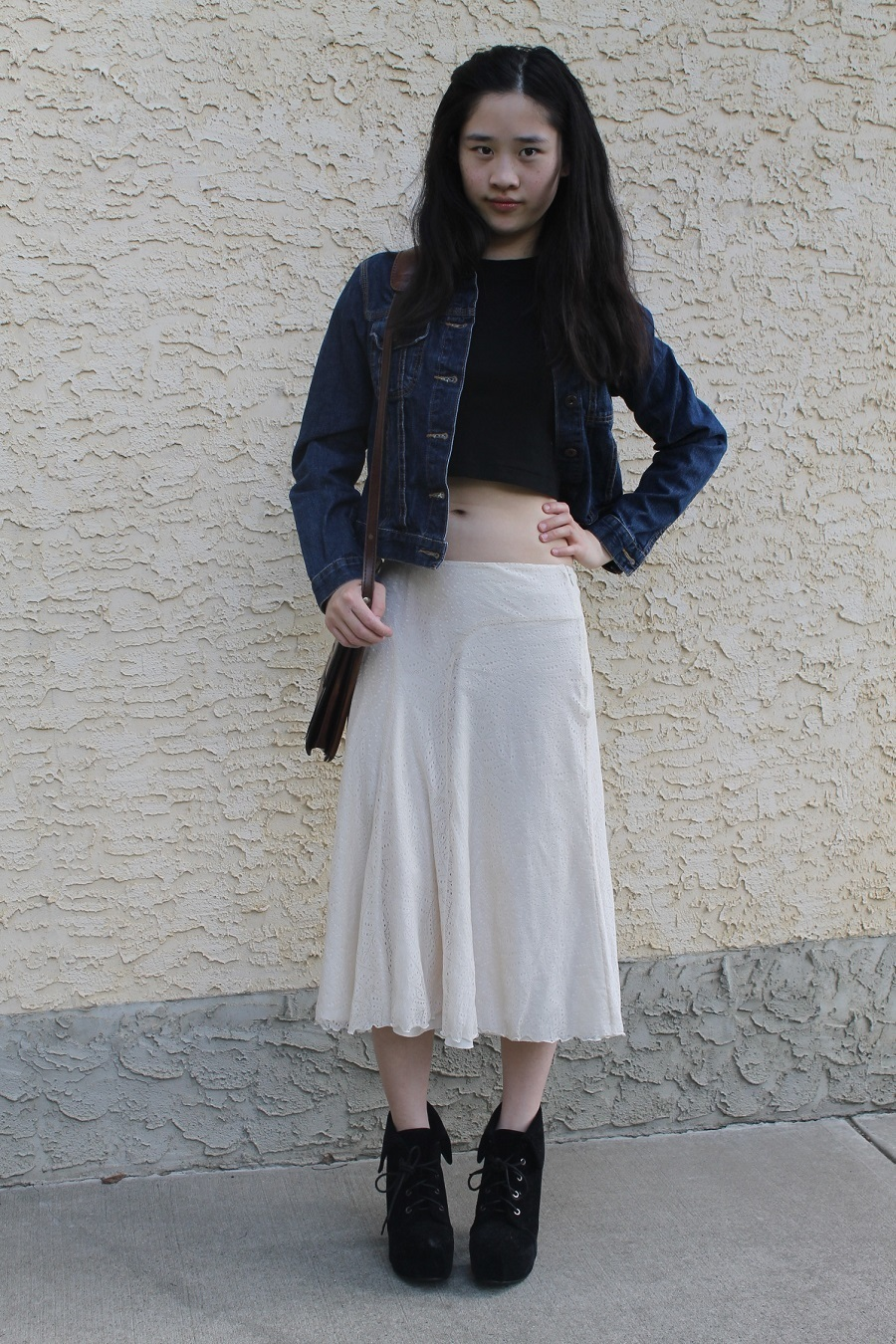 Women's Navy Denim Jacket, Black Cropped Top, Beige Pleated Midi ...
