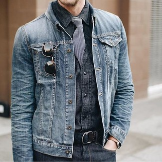 How to wear: blue denim jacket, charcoal denim shirt, charcoal jeans, black and white horizontal striped tie