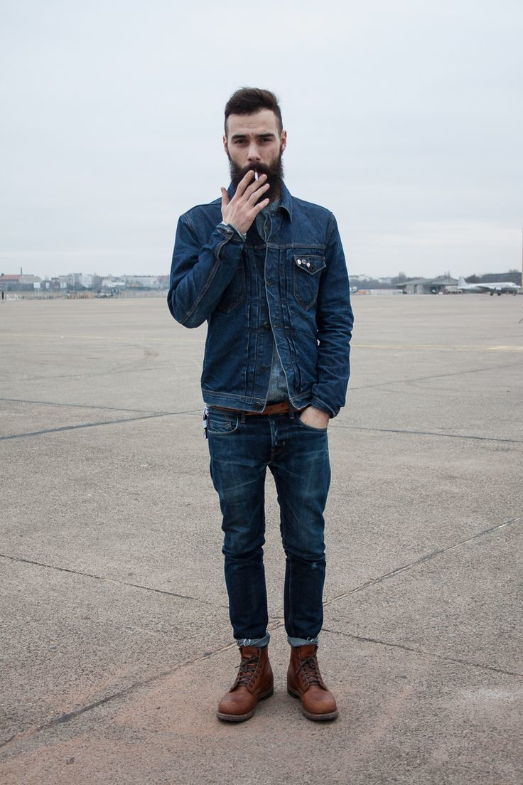 Men's Navy Denim Jacket, Grey Denim Shirt, Navy Jeans, Dark Brown ...