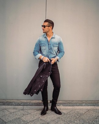 How to Wear a Black Denim Jacket For Men: If you're scouting for a relaxed casual but also seriously stylish ensemble, go for a black denim jacket and black skinny jeans. A pair of black leather chelsea boots instantly kicks up the classy factor of any outfit.