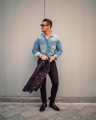 How to wear: black denim jacket, blue denim shirt, black skinny jeans, black leather chelsea boots