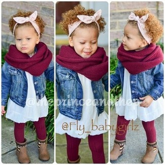 How to wear: blue denim jacket, white dress, brown boots, red scarf