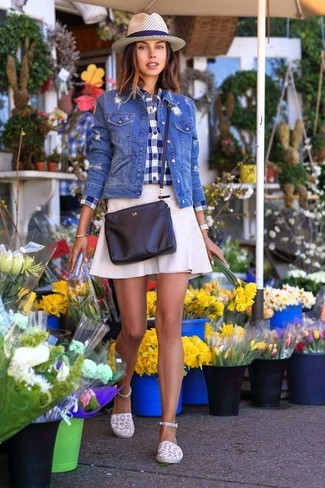 How to wear: blue denim jacket, navy and white gingham dress shirt, white a-line skirt, white canvas espadrilles