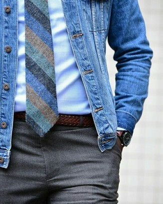 How to wear: blue denim jacket, white check dress shirt, grey check dress pants, blue vertical striped tie