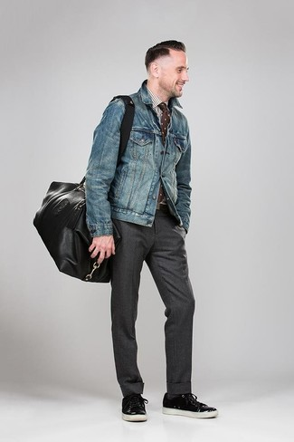 How to wear: blue denim jacket, white and brown gingham dress shirt, charcoal dress pants, black leather low top sneakers