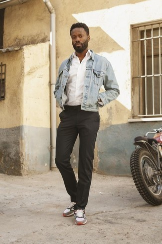 How To Wear Athletic Shoes With Dress Pants For Men: This pairing of a light blue denim jacket and dress pants is perfect for dressier situations. Athletic shoes will add a new depth to this ensemble.