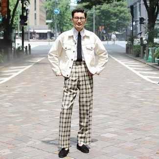 White Dress Shirt Outfits For Men: For classy style with a modern spin, make a white dress shirt and beige plaid dress pants your outfit choice. Complement this look with black suede tassel loafers and the whole outfit will come together.