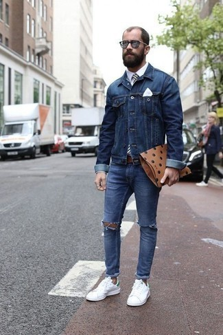 Blue Ripped Jeans with Dress Shirt