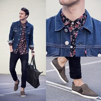 Go for a navy and white floral shirt and navy slim jeans for an easy to wear, everyday look. Round off this look with charcoal slip-on sneakers.
