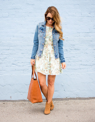 How to wear: blue denim jacket, mint floral fit and flare dress, tan suede ankle boots, tobacco leather tote bag