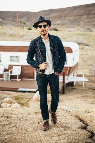 Charcoal Wool Hat Outfits For Men: A navy denim jacket and a charcoal wool hat paired together are a good match. If you need to instantly ramp up this ensemble with shoes, introduce brown leather casual boots to the mix.