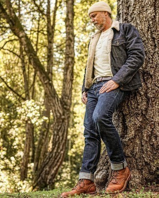 Henley Shirt Outfits For Men: You'll be amazed at how extremely easy it is for any gentleman to throw together this relaxed casual ensemble. Just a henley shirt combined with navy jeans. Complement your outfit with brown leather casual boots to effortlessly up the classy factor of any ensemble.