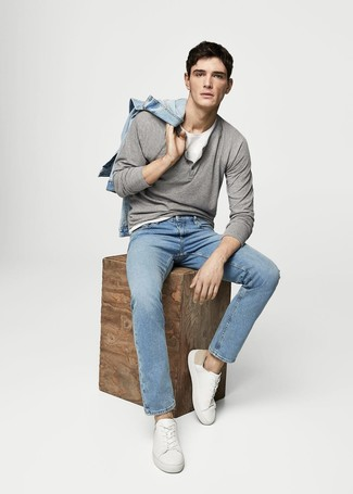 Men's Light Blue Denim Jacket, Grey Henley Sweater, White Crew-neck T-shirt, Light Blue Jeans