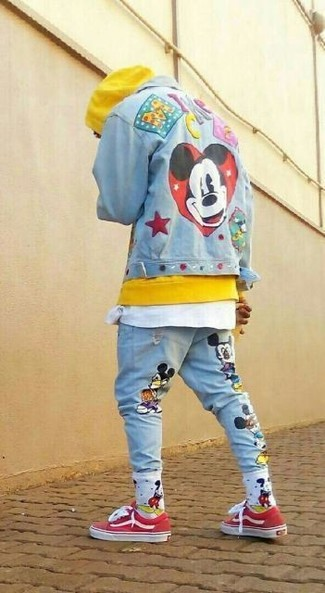 How to Wear Light Blue Print Jeans For Men: Why not team a light blue embroidered denim jacket with light blue print jeans? Both of these pieces are super comfortable and look awesome paired together. The whole ensemble comes together brilliantly when you add a pair of red low top sneakers to the mix.