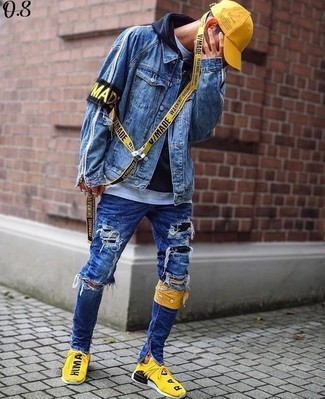 How to wear: blue denim jacket, black hoodie, white crew-neck t-shirt, blue ripped skinny jeans