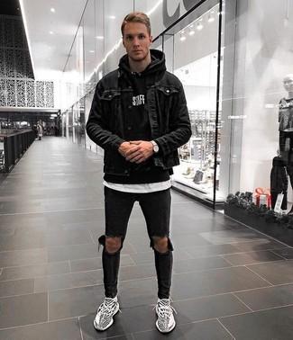 How to wear: black denim jacket, black hoodie, white crew-neck t-shirt, black ripped skinny jeans
