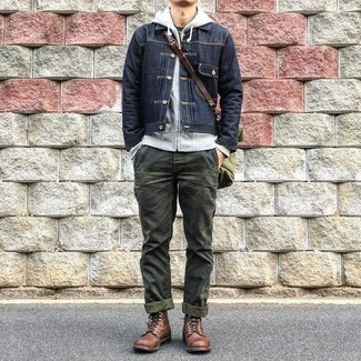 How to wear: black denim jacket, grey hoodie, black crew-neck t-shirt, olive chinos