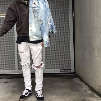 Dark Brown Hoodie Outfits For Men: A dark brown hoodie and white ripped jeans are amazing menswear staples that will integrate nicely within your day-to-day outfit choices. To add elegance to your getup, round off with a pair of black and white canvas low top sneakers.