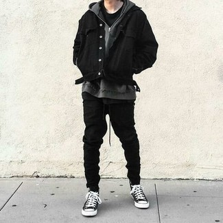 Men's Outfits 2021: A black denim jacket and black sweatpants are must-have menswear essentials if you're putting together an off-duty wardrobe that matches up to the highest style standards. To give your ensemble a more laid-back vibe, why not complete your getup with a pair of black and white canvas high top sneakers?
