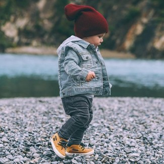 Boys' Light Blue Denim Jacket, Grey Hoodie, Charcoal Jeans, Orange Sneakers