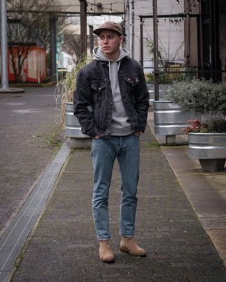 Tan Suede Chelsea Boots Outfits For Men: Want to inject your closet with some elegant cool? Consider teaming a charcoal denim jacket with light blue jeans. A pair of tan suede chelsea boots will take your look in a classier direction.