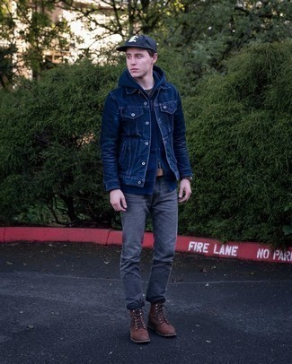 Charcoal Jeans Outfits For Men: This off-duty combo of a navy denim jacket and charcoal jeans comes to rescue when you need to look sharp in a flash. To give your overall ensemble a more polished vibe, grab a pair of dark brown leather casual boots.