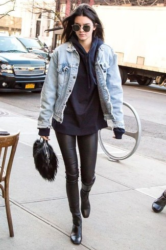 A Rachel Roy women's Rachel Destructed Denim Jacket and black leather leggings are your go-to outfit for lazy days. Dress up this look with black leather mid-calf boots. We're loving this one, especially for spring.